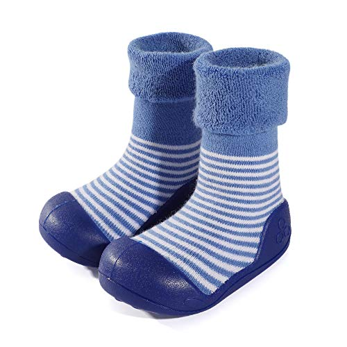LACOFIA Baby Boys Girls Sock Shoes Unisex Toddler Slipper Sock Boots with Anti-Slip Rubber Sole