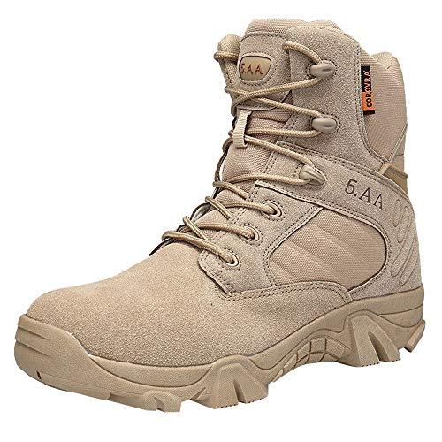 Bottes de randonnée Militaires en Cuir Nubuck Respirant et résistant à l'usure 39-47 Chaussures de randonnée Tactiques imperméables antidérapantes Haut de Gamme pour Hommes LuckyGirls