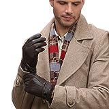 Gants luxueux GSG en cuir nappa espagnol pour homme, compatibles avec écrans tactiles, pour la conduite, les textos, la moto, en hiver, chauds -  Marron - Small