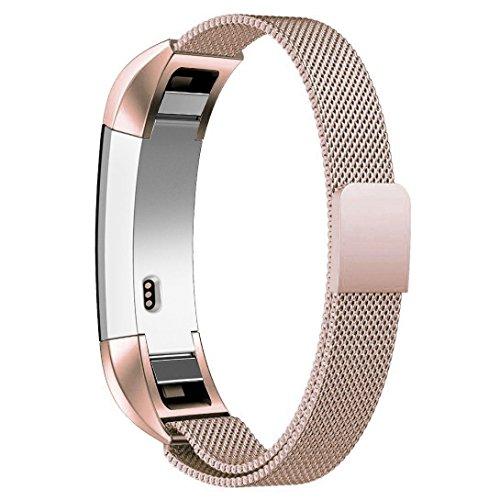 Fitbit Alta Armband / Fitbit Alta HR Armband ,Teorder Milanese Loop Metallarmband Magnetverschluss Austauscharmband Edelstahl mit verstellbarem Verschluss Sportarmband für Fitbit Alta HR und Fitbit Alta, Roségold (klein/groß)