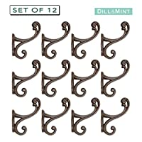 SET OF 12 Scroll Style Coat or Hat Hooks by Dill and Mint - Clothes Hooks Vintage Antique Iron Ideal for Kitchen Bathroom Robe Bedroom Office Toilet