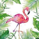 Servietten (2er Set / 40Stück) 3-lagig 33x33cm Sommer Muster (Tropical Flamingo)
