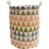 hangnuo portátil plegable cesta para la ropa sucia (algodón y lino cesta de juguetes papelera hogar almacenamiento organizador