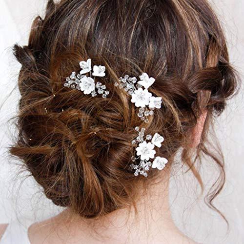Simsly Bride Haarnadeln, Blumen-Design, silberfarben, Haar-Clips, Brautschmuck, Haar-Accessoires für Damen und Mädchen, 3 Stück