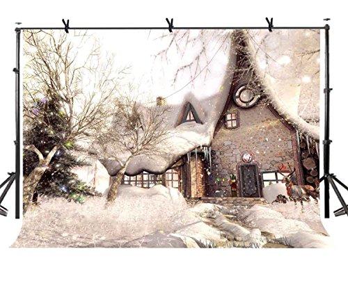 lylycty 10x 2,1Romantic Snow Szene Hintergrund Lovely Cottage Fotografie Hintergrund Weihnachten Fotografie Requisiten lynan165 - Fotografie Cottage