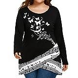 Camisetas Talla grande Mujere, LILICAT® Blusa Tops Mariposa + Nota musical Impreso, L,XL, 2XL,3XL,4XL,5XL, Blusa de Manga Larga Holgada 2018 (2XL, ❤️ Negro)