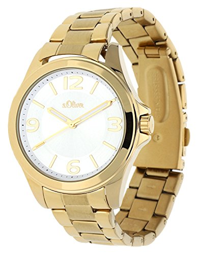 s.Oliver Damen-Armbanduhr Analog Quarz IP Gold SO-15106-MQR