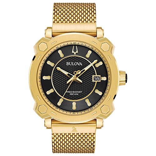 Bulova 97b163Grammy especial Edición Precisionist reloj para hombre dorado 44mm tono dorado caja de acero inoxidable