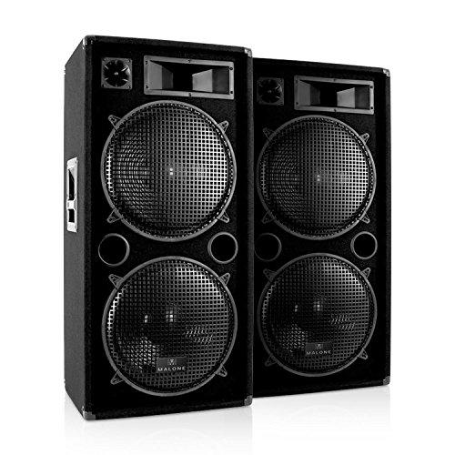 """Malone Paire d'énceintes Fullrange PA sono DJ (3 voies, 2 subwoofers x 38cm de 15"""", max. 3000 Watt) - noir"""