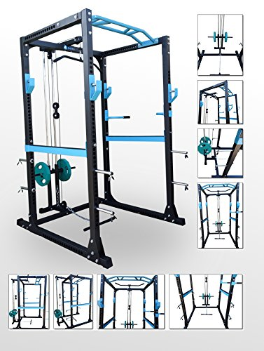 BodyRip Pro Power Cage Rack Streckzug- & Latzugmaschine, Kraftstation für Kniebeugen, Armrotation (E-power Maschine)