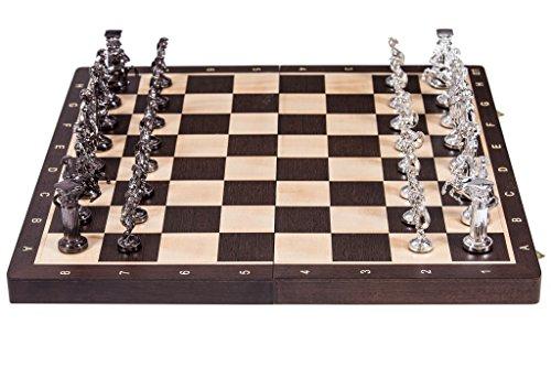 Square - Schach Schachspiel - ROM Silver Edition - 53 x 53 cm - Schachbrett - Wenge / Bergahorn -