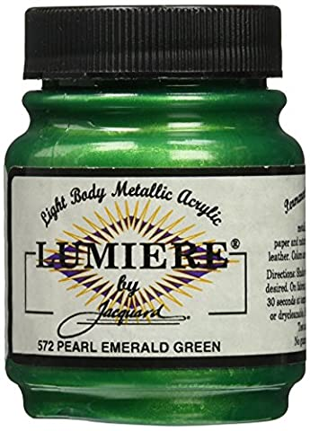Jacquard Products 2.25 oz Lumiere Metallic Acrylic Paint, Pearlescent Emerald