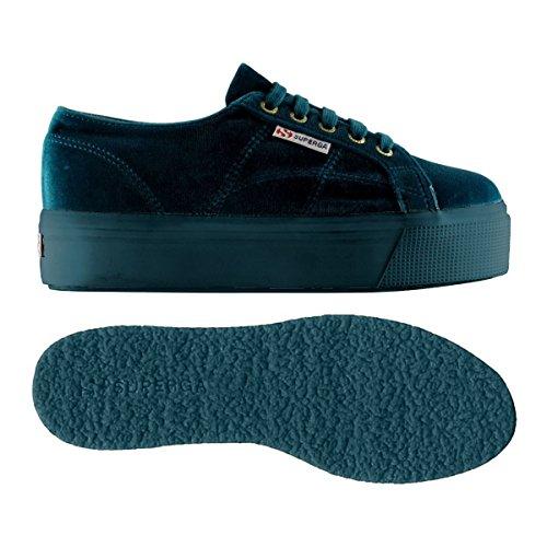 Superga 2790-velvetw, Chaussures femme BLUE DK PETROL