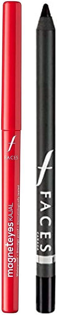 Faces Magnet Eyes Kajal, 0.35g & Long Wear Eye Pencil, Solid Black 02, 1.2g Combo