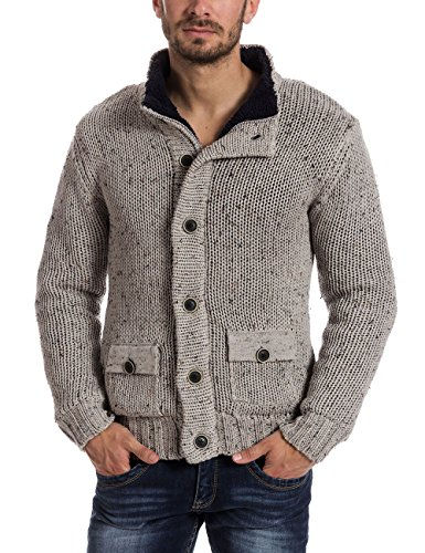 Timezone Herren Regular Fit Strickjacke 28 - 6031, Einfarbig Grau (light grey melange 9174)