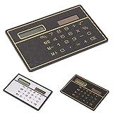 Energia solare carta di credito calcolatrice, calcolatrice tascabile a cifre, ultra sottile per scuola/ufficio/viaggio free size Nero