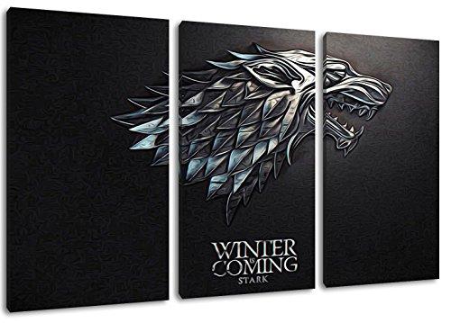 Stark, Game of Thrones foto, 3 pezzi su tela (dimensione totale: 120x80 cm), stampe d'arte di alta qualità come un murale. Più economico di un dipinto ad olio! ATTENZIONE NO poster!