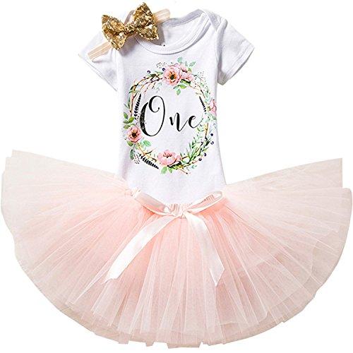 rn Crown Tutu 1. Geburtstag 3 Stück Blume Outfits Strampler + Rock + Stirnband Größe 1 Jahre Pink (Baby Mädchen Outfit)