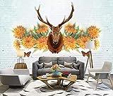 HONGYUANZHANG Gelbe Blumenelche Tapete Des Foto-3D Künstlerische Landschafts-Fernsehhintergrund-Tapete,24Inch (H) X 32Inch (W)
