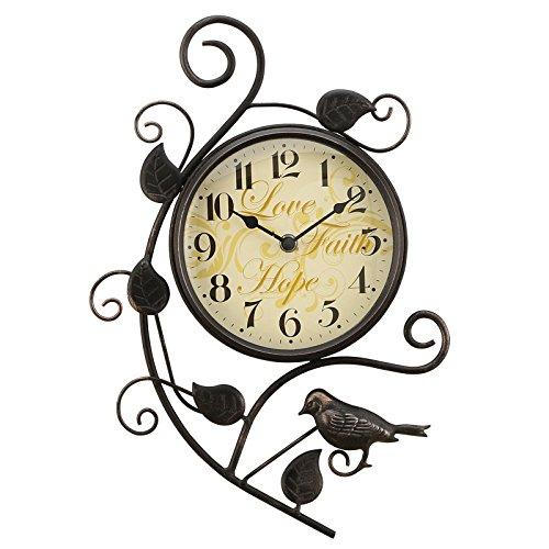 WuuLii Decor Wanduhr-Kunst Uhr Wanduhr Moderne Stille Persönlichkeit Magpie Eisen European Fashion - Toskana-altes Eisen