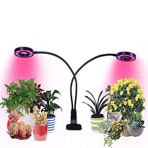 20W Dual Head Plant Grow Light Niello with 3/6/12H Timmer Red/Blue/White Spectrum 360 Degree Flexible Gooseneck 3 Switch Modes Hydroponic Gardening, Greenhouse, Office Reading