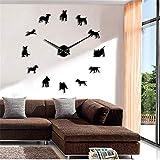 guyuell Bull Terrier Dog Wall Art DIY Reloj De Pared Grande Perro Raza Pug Aguja Grande Reloj Reloj Tienda De Mascotas Decoración Regalo para Los Amantes De Bull Terrier, 37 Pulgadas