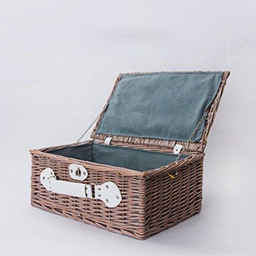 Aufbewahrungstaschen Xuan - Worth Another Graues Pulver Kreative Einfachheit Rattan Sammlung Korb Mit Abdeckung Picknickkorb Snack Box Retro Finishing Box