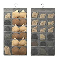 SUNJUN Hanging Storage Organiser with Large and Deep Pockets, Double-Sided Space-Saving Clothes Organiser for Small Wardrobe, brassiere/Panties/socks storage