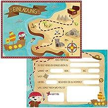 """Oblique-Unique® 12 Einladungskarten zum Kindergeburtstag """"Pirat"""" // Geburtstagseinladungen Jungen Mädchen Kinder Einladungen Schatzkarte Schatzsuche Piratenparty Geburtstag Karten Set"""