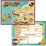 Oblique Unique® 12 Einladungskarten zum Kindergeburtstag Pirat // Geburtstagseinladungen Jungen Mädchen Kinder Einladungen Schatzkarte Schatzsuche Piratenparty Geburtstag Karten Set