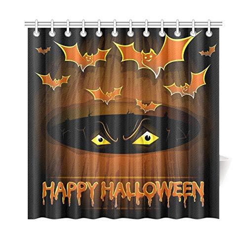 ad Vorhang Halloween Poster Fledermäuse Scary Eyes Polyester Stoff Wasserdicht Duschvorhang Für Badezimmer, 72X72 Zoll Duschvorhang Haken Enthalten ()