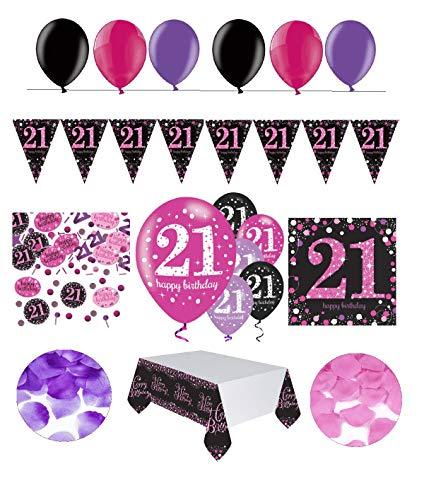 tagsdeko 21. Geburtstag   31 Teile Deko-Set Luftballon Wimpel Girlande Konfetti Serviette Tischdecke Pink Schwarz Violett metallic Party-Set ()