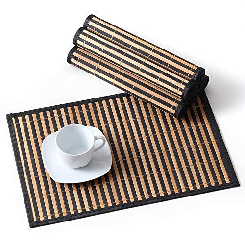 Lovecasa tovagliette americana bambù rettangolo tovagliette da tavola colazione pranzo lavabili, antiscivolo, antimacchia,resistenti al calore, set 6 pezzi tovaglietta, marrone frame