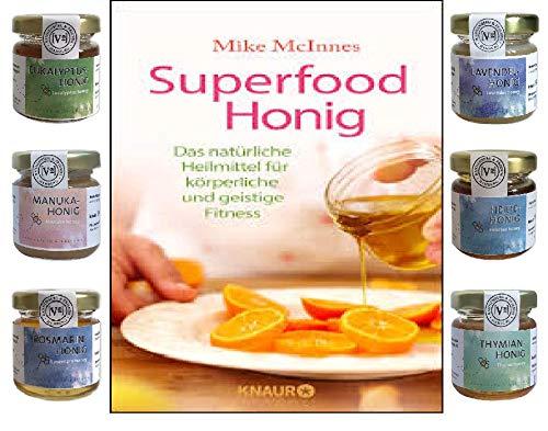 Blessing Superfood Honig & 6 Verschiedene heilkräftige Honige Thymian,- Heide,- Lavendel,- Rosmarin,- Manuka,- Eukalyptus Honig