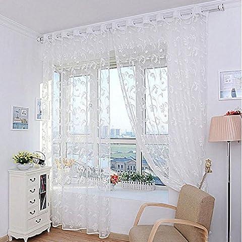 Vovotrade 1pc Fils de Rideau de Fleur de Mode pour la Chambre à Coucher Rustique Transparent Tulle Rideau Taille 200X100cm (Blanc)