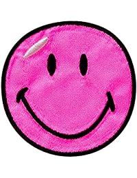 Smiley–Rosa–5,5cm diámetro–Parche para planchar bordados Patch