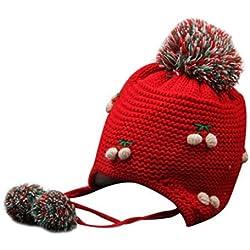 8m Baby Girl Boy oreja tapa gorro de invierno, diseño de Peach de punto Niños gorro cálido gorra con doble de lunares (rojo)