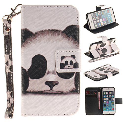 Cozy Hut Portefeuille Housse Coque à rabat pour iPhone SE / 5 / 5S, iPhone SE / 5 / 5S Bookstyle Coque Wallet Cuir Folio Housse, iPhone SE / 5 / 5S Leather Wallet Case PU Cover Skin,Coque iPhone SE /  panda