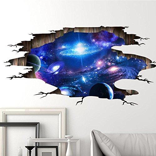 Pegatinas de Pared 3D Cielo Estrellado 60 cm * 90 cm PVC Desmontable Mural CalcomaníasArte de Vinilo Sala Holatee
