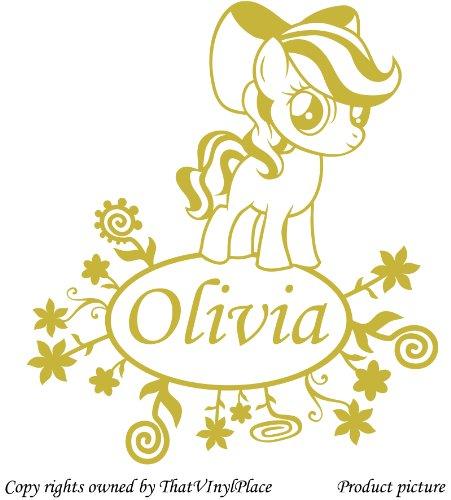 Personaliced My Little Pony fiori, adesivi, 60 cm x 53 cm, colore: oro metallico scelto nome, qualsiasi nome, Disney, La camera da letto, cavallo, per la stanza dei bambini, adesivi e finestre, vinile auto adesivi da parete, decorazioni da finestra in vinile decalcomanie, decorazione adesiva