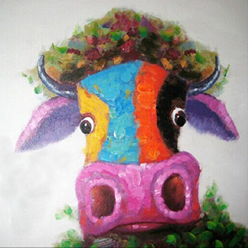 Fokenzary, Wandbild Im Pop-art-stil Mit Kuh-bullen-motiv, Modern, Mehrfarbig, Handgemalt Und Fertig Eingerahmt, Canvas, Mehrfarbig, 16x16in
