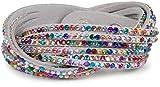 styleBREAKER weiches Strass Armband, eleganter Armschmuck mit Strassteinen, Wickelarmband, 6x1-Reihig, Damen 05040005, Farbe:Hellgrau/Bunt