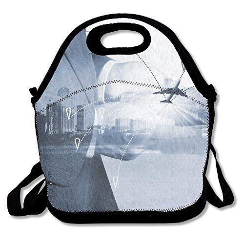 VTXWL Airline Airplane Flight Path Travel Plans Freight Cargo Plane In Transport and Import Export New Lunch Tote Lunch Bag School Mid-Sized - Cargo Top Zip Tote