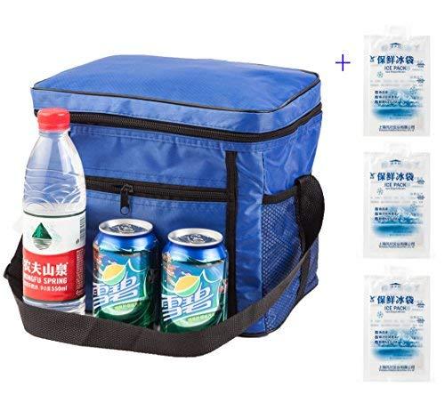 Outdoor-Kühltasche mit 3 Kühlpäckchen, isoliert für 10–24 Stunden, blau