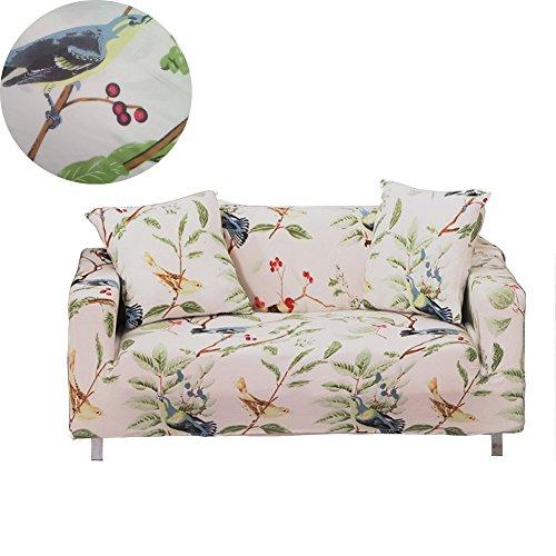 Enzer copri divano in tessuto elastico, motivo floreale con uccelli, protezione da animali per poltrona, divano, bird pattern, 1 posto