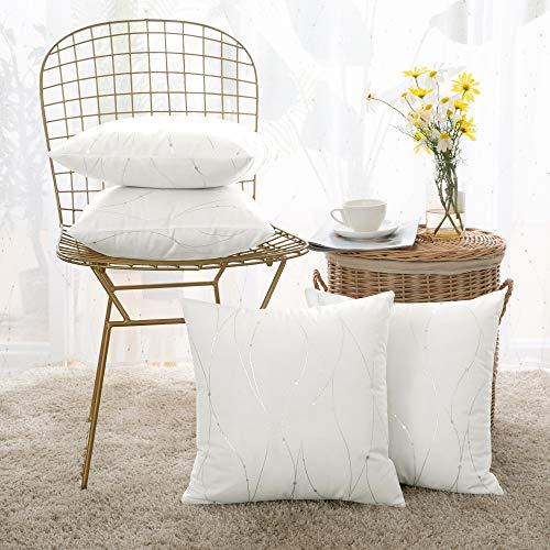 Deconovo set di 4 copricuscini diavno fodere cuscini quadrate fatte a mano decorative per salotto 40x40cm bianco