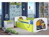 CARELLIA 'Kinderbett LKW 80cm x 160cm mit Barriere Sicherheitsschuhe + Lattenrost + Schubladen + Matratze Offert.–Limettengrün