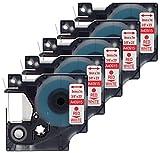5 Kassetten D1 40915 rot auf weiß 9mm x 7m Schriftband kompatibel für DYMO LabelManager LM 100, 110, 120P, 150, 155, 160, 200, 210D, 220P, 260, 260D, 280, 300, 350, 350D, 360D, 400, 420P, 450, 450D, 500TS, PC, PC2, PnP, PnP Wireless, LabelPoint LP 100, 150, 200, 250, 300, 350, LabelWriter LW 400 Duo, 450 Duo Beschriftungsgerät