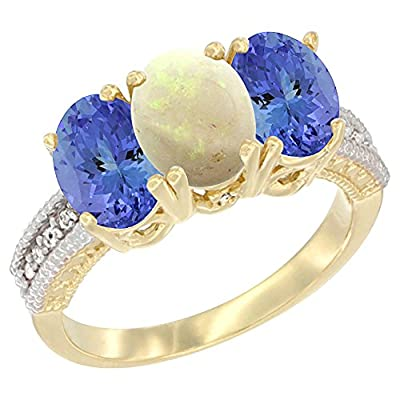 14ct Yellow Gold Natural Opal Ring with Tanzanite 3-Stone 7x5 mm Oval Diamond Accent, size N