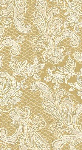 Paperproducts 1411051 Designs Lot de 15 serviettes invités Motif dentelle Royal élégant, doré et blanc Par Paperproducts Design